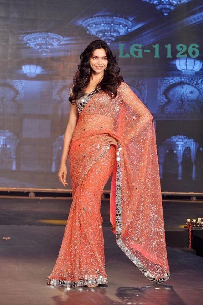 Beautiful Bollywood Deepika Padukone Saree In Georgette Designer Saree