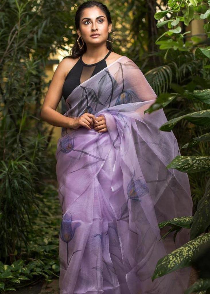 Buy Online Kd-Organza Digital Print Light Purple Color Saree At Best Price  From Surati Fabric.