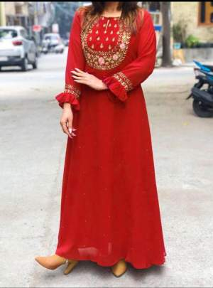 Aliza Long Gown Stylist Love Red Party Wear Kurti