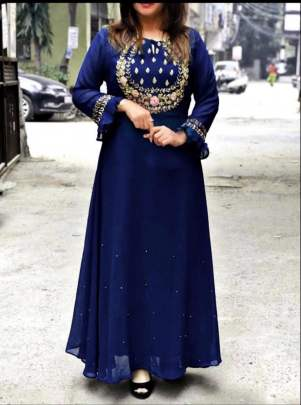 Aliza Long Gown Stylist Nevy Blue Party Wear Kurti