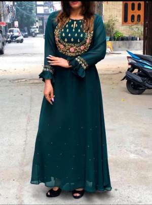 Aliza Long Gown Stylist Nevy Green Party Wear Kurti