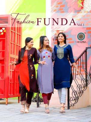 Aradhna Fashion Funda Vol 1 Kurti with Pant Wholesale Catalog 10 Pcs