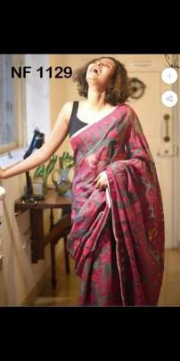 BEAUTIFUL FANCY COTTON SAREE WITH AMAZING  DIGITAL PRINT