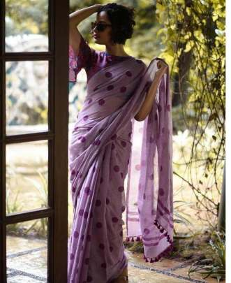 BEAUTIFUL FANCY COTTON SAREE WITH SIMPLE PRINT