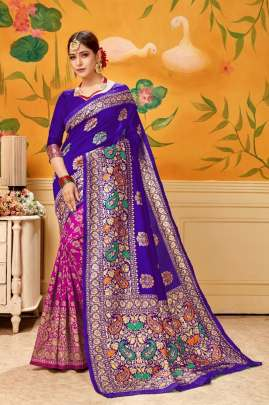 BEAUTIFUL PLAIN SAREE WITH HEAVY LOOK IN  VIOLET