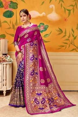 BEAUTIFUL PLAIN SAREE WITH HEAVY LOOK IN  MAGENTA