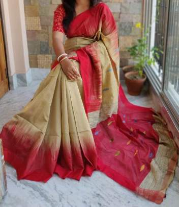 BEAUTIFUL SIMPLE BHAGALPURI SAREE FOR TRADITINAL FUNCTIONS