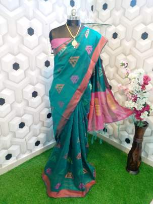 BEAUTIFUL SOFT COTTON  SAREE WITH ALL OVER BEAUTIFUL  WEAVING TILL BLOUSE PART