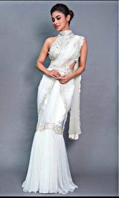 BOLLYWOOD MONI ROY'S WHITE NETTED SAREE
