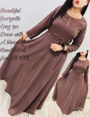 Beautiful georgette Chocolaty  Colour Gown