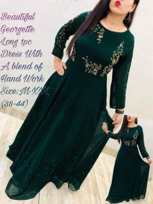 Beautiful georgette Dark Green Colour Gown