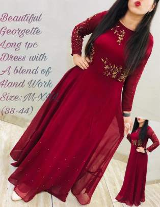 Beautiful georgette Maroon Colour Gown