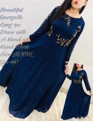 Beautiful georgette Neavy Blue Colour Gown