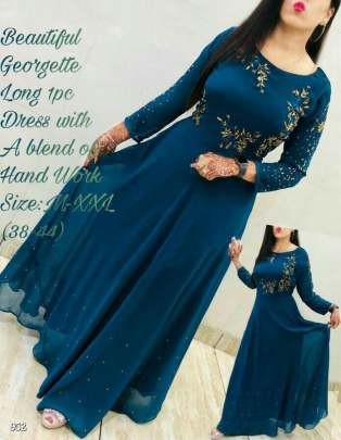 Beautiful georgette Royal Blue Colour Gown