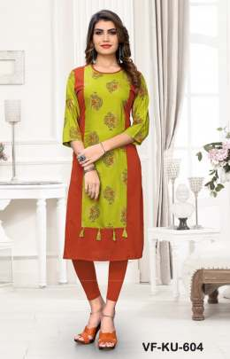 Designer Cotton Kurti Red Green