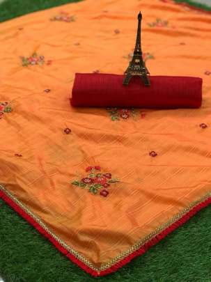 EMBROIDERY BUTTA WORK WITH FANCY ZALAR LACE SAREE