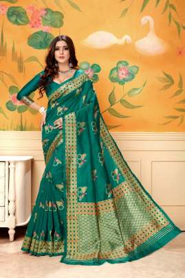 GLAMOUROS LICHI SILK SAREE IN  RAMA