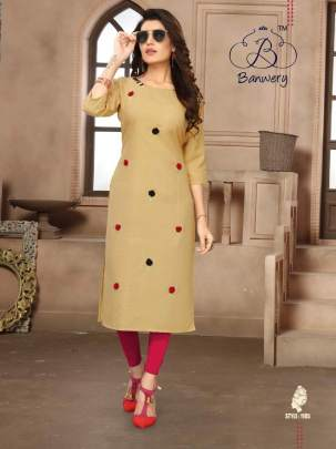 BLEND HEAVY PREMIUM COTTON WITH EMBROIDERY WORK KURTI CATALOG FULL SET