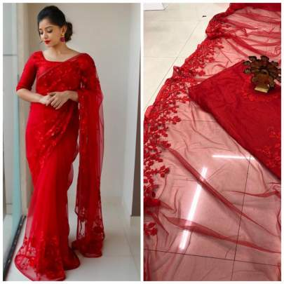 KD'S  DESIGNER PARTY WEAR NET SAREE IN ROYAL RED