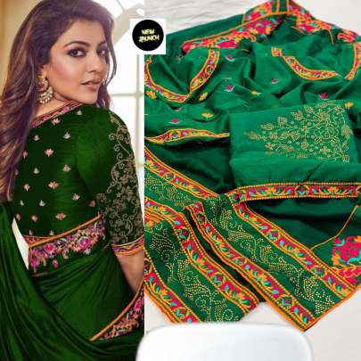 Kajol Vichitra Silk Green Colour Saree