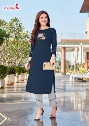 Koodee Kurti with Pant Heavy Rayon With Hand Work Catalogue Set