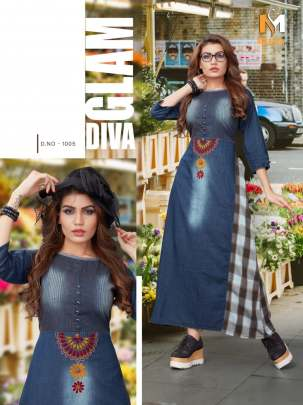 Meerali Silk Mills Designer Denim Kurties Catalogue