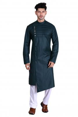 Men's Traditional wear Pathani Dark Green Color