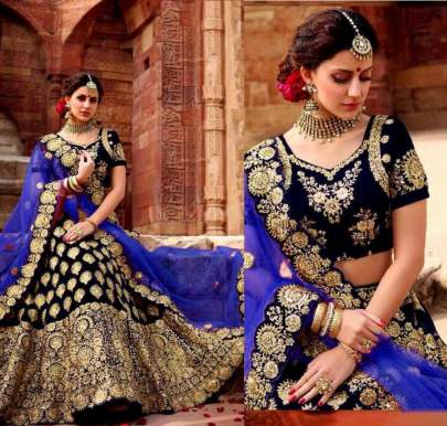 PURE VELVET WITH EMBROIDERY WORK SATIN SILK LEHENGHA CHOLI