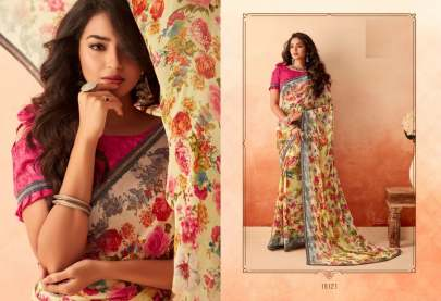 Peacock Designer Chiffion saree Catalogue