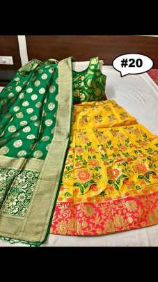 Rasleela Vol-10 Lehenga yellow and Duptta Green