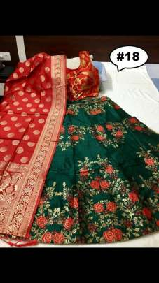 Rasleela Vol-10 Lehenga Green  and Duptta Red