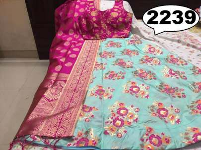 Rasleela Vol-10 Lehenga SkyBlue  and Duptta pink