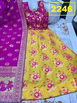 Rasleela Vol-10 Lehenga Yellow  and Duptta Pink