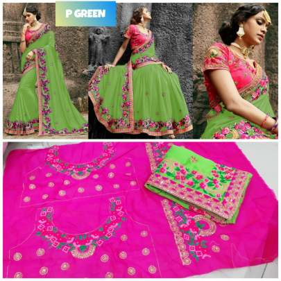Rangoli silk  green saree with embroidery work