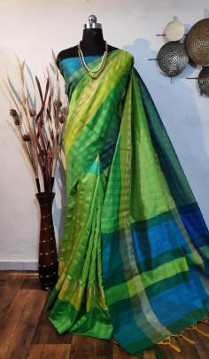 Raw Silk Saree Green
