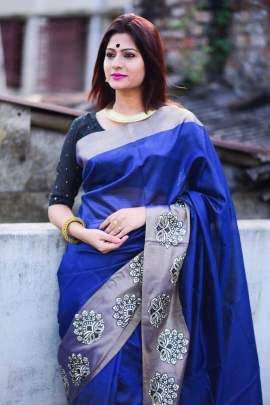 Rutrang Raw Silk weaving Blue