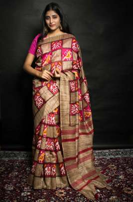 Semi Cotton Silk Red & Pink Colour Saree