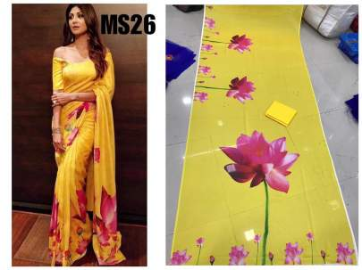 Shilpa Shetty Bollywood Designer Rangoli With Digital Print Saree