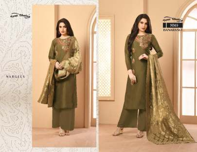 Your Choice Presents Banarasi Satin Georgette Designer Kurti Catalogue 8 pcs Set.