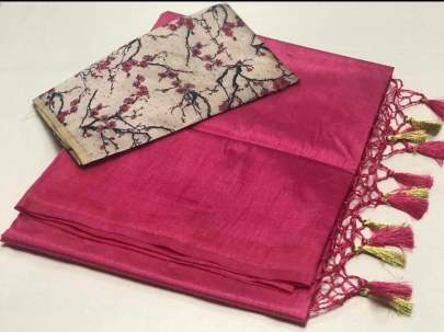 ZOYA SILK Digital printed pink saree