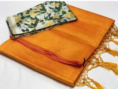 ZOYA SILK Digital printed yellow saree