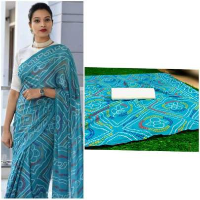 pure soft georgette saree light sky color with beautiful heavy print saree