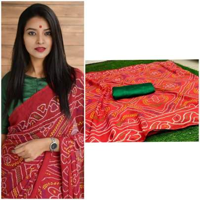 pure soft georgette saree red with beautiful heavy print saree