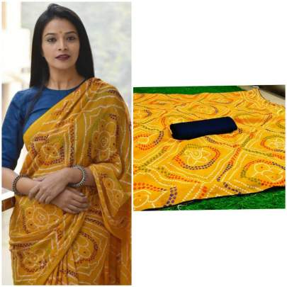 pure soft georgette saree yellow with beautiful heavy print saree